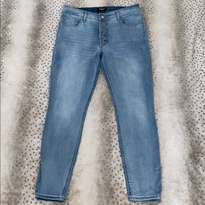 Express stretch + high rise ankle skinny 10